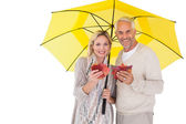 Smiling couple showing autumn leaves under umbrella — Stock Photo