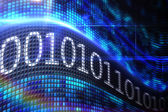 Binary code on digital screen — Foto Stock