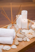 Spa objects on wooden floor — Stock Photo