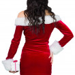 Sexy girl in santa outfit holding gift — Stock Photo #51604247