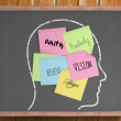 Chalk head with positive post it notes — Stock Photo #51604327