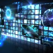 Wall of digital screens in blue — Stock Photo #51608485