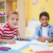 Little boys drawing at desk — Stock Photo #51608709