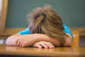 Sleepy pupil napping in classroom — Foto de Stock