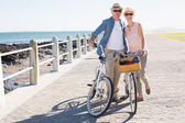 Happy casual couple going for a bike ride on the pier — Stok fotoğraf