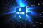 Blue solution glowing jigsaw piece — Stock Photo