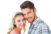 Atrakcyjna para uśmiecha się do kamery — Zdjęcie stockowe
