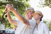 Happy senior couple posing for a selfie — Stock Photo