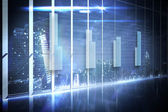 Hologram interface in office overlooking city — Stock Photo