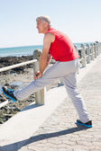 Fit mature man warming up on the pier — 图库照片