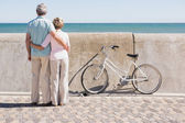 Happy senior couple looking out to the sea — Stock Photo