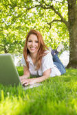 Redhead using laptop in the park — Stock Photo