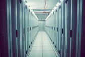 Empty hallway of server towers — Stock Photo
