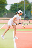 Focused tennis player ready to serve — Foto de Stock