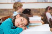 Sleeping pupil sitting at her desk — Stock Photo
