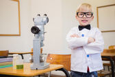 Pupil dressed up as scientist in classroom — Zdjęcie stockowe