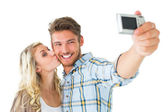 Attractive couple taking a selfie together — Stock Photo