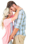 Attractive young couple about to kiss — Stock Photo