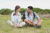 Couple taking a break on landscape — Foto de Stock
