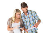 Attractive couple working out their finances — Foto Stock
