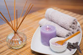 Spa objects on wooden table — Stock Photo