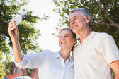 Happy senior couple posing for a selfie — Stock Photo