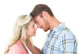 Attractive couple smiling at each other — Stock Photo