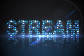 Stream made of digital screens in blue — Stock Photo