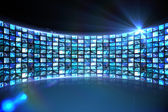 Curve of digital screens in blue — Stock Photo