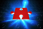 Red jigsaw piece on blue puzzle — Zdjęcie stockowe
