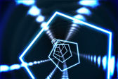 Hexagon design with glowing light — Photo