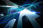 Blue light beams over skyscrapers — Stock Photo
