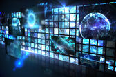 Wall of digital screens in blue — Stock Photo