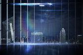 Office overlooking city at night — Stock Photo