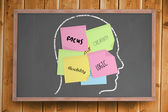 Chalk head with business attributes post it notes — Stock Photo