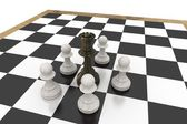 Black queen surrounded by white pawns — Stock Photo