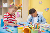 Little boys making art together — Stock Photo