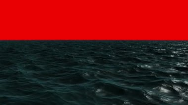 Choppy ocean under red screen sky — Stock Video