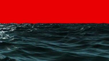 Choppy ocean under red screen sky — Stock Video