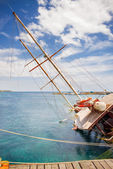 Yacht, sunken boat, — Stock Photo