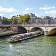 Tourist cruise luxury restaurant boat in River Seine Paris Franc - Stok fotoğraf