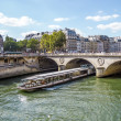 Tourist cruise luxury restaurant boat in River Seine Paris Franc - 图库照片