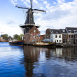 Picturesque landscape with windmill. Haarlem, Holland — Stock Photo