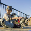 Smiling teenage boy in roller-blading protection kit — Stock Photo