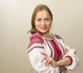 Portrait of beautiful young woman in the Ukrainian national clot — Stock Photo
