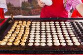 "Freshly baked traditional Dutch mini pancakes called ""poffertjes — Stock Photo"