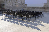 Outdoor cinema and raws of empty black seats in Zadar, Croatia — Stock Photo