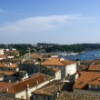 Panoramic view of down town Porec from the basilica tower, Istra — Stock Photo