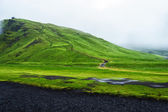 Road near Skogafoss waterfall in Iceland, rainy summer — Stock Photo
