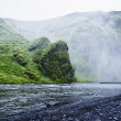 Stock Photo: Skoga river near Skogafoss waterfall in Iceland, summer